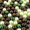 Mixed Luster Glass Pearls Round 8mm Choc-Mint Mix. Pack of 100