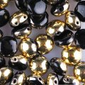 Candy Beads 2-Hole Cabochon 8mm 20pcs - Jet Gold