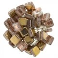 CzechMate 6mm Square 2-Hole Tile Bead - Apollo Gold (25)