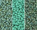 Czech MiniDuo Two-hole Beads 4x2mm Aqua/Turquoise Picasso Combo