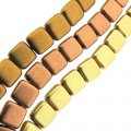 Czechmate 6mm Square 2-Hole Tile Beads - 3 Color Matte Mtllc Mix