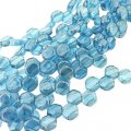 Czech Glass Honeycomb Beads 2-Hole 6mm 30 Pcs Aqua Luster