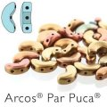 Arcos Par Puca Beads 3-hole 5x10mm 5GM Yellow Gold Metallic Iris