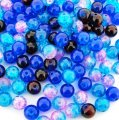 Crackle Glass Round Beads 8mm Shades of Blue Mix 100pcs