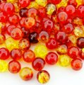Crackle Glass Round Beads 8mm Fire Mix 100pcs