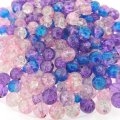 Crackle Glass Round Beads 8mm Princess Mix 100pcs