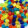 Crackle Glass Round Beads 8mm Circus Mix 100pcs
