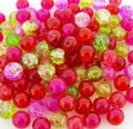 Crackle Glass Round Beads 8mm Poppy Fields Mix 100pcs