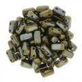 Brick Beads 2-Hole 3 x 6mm 50pcs - Brown Iris