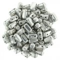 Brick Beads 2-Hole 3 x 6mm 50pcs - Silver