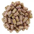 Brick Beads 2-Hole 3 x 6mm 50pcs - Luster Opq Rose / Gold Topaz
