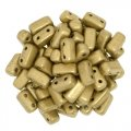 Brick Beads 2-Hole 3 x 6mm 50pcs - Matte Metallic Flax