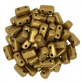 Brick Beads 2-Hole 3 x 6mm 50pcs - Matte Metallic Goldenrod