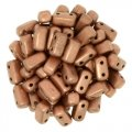Brick Beads 2-Hole 3 x 6mm 50pcs - Matte Metallic Copper
