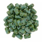 Brick Beads 2-Hole 3 x 6mm 50pcs - Picasso Persian Turquoise