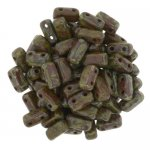 Brick Beads 2-Hole 3 x 6mm 50pcs - Picasso Umber