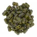 Brick Beads 2-Hole 3 x 6mm 50pcs - Picasso Opaque Olive