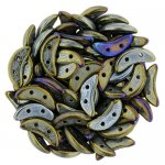 Czechmate 2-Hole Crescent Beads 10x4mm 10g - Brown Iris