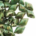 GemDUO 2-Hole beads 8x5mm 10GM - Turquoise Green Picasso