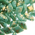 GemDUO 2-Hole beads 8x5mm 10GM - Gold Splash Opq Turquoise Green