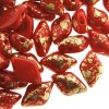 GemDUO 2-Hole beads 8x5mm 10GM - Gold Splash Opq Red