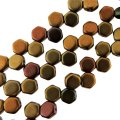Czech Glass Honeycomb Beads 2-Hole 6mm 30 Pcs Dark Gold RB