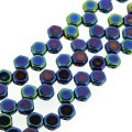 Czech Glass Honeycomb Beads 2-Hole 6mm 30 Pcs Jet Blue Iris