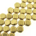 Czech Glass Honeycomb Beads 2-Hole 6mm 30 Pcs Pale Gold