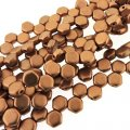 Czech Glass Honeycomb Beads 2-Hole 6mm 30 Pcs Crl Vintage Copper