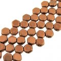 Czech Glass Honeycomb Beads 2-Hole 6mm 30 Pcs Bronze Copper