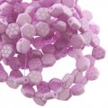 Czech Glass Honeycomb Beads 2-Hole 6mm 30 Pcs Laser Core Pink