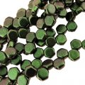 Czech Glass Honeycomb Beads 2-Hole 6mm 30 Pcs Motley Sage & Ctrs
