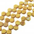 Czech Glass Honeycomb Beads 2-Hole 6mm 30 Pcs Chalk Red Luster