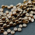 Czech Glass Honeycomb Beads 2-Hole 6mm 30 Pcs Topaz Brnz Picasso