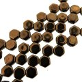 Czech Glass Honeycomb Beads 2-Hole 6mm 30 Pcs Jet Bronze
