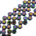 Czech Glass Honeycomb Beads 2-Hole 6mm 30 Pcs Jet Purple Iris