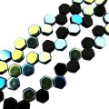Czech Glass Honeycomb Beads 2-Hole 6mm 30 Pcs Jet AB
