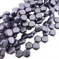 Czech Glass Honeycomb Beads 2-Hole 6mm 30 Pcs Mtlc Suede Purple