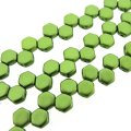 Czech Glass Honeycomb Beads 2-Hole 6mm 30 Pcs Pastel Olivine