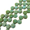 Czech Glass Honeycomb Beads 2-Hole 6mm 30 Pcs Blue Trqse Picasso