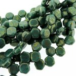 Czech Glass Honeycomb Beads 2-Hole 6mm 30 Pcs Grn Turquoise Lumi
