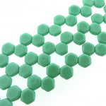 Czech Glass Honeycomb Beads 2-Hole 6mm 30 Pcs Green Turquoise