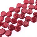 Czech Glass Honeycomb Beads 2-Hole 6mm 30 Pcs Ruby Red Luster