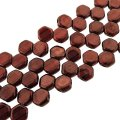 Czech Glass Honeycomb Beads 2-Hole 6mm 30 Pcs Ruby Red Wine