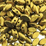 IrisDuo 2-Hole Beads 7x4mm 9GM - Metallic Golden Olivine