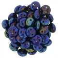 Lentil Beads 2-Hole 6mm - Blue Iris 50pcs