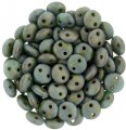 Lentil Beads 2-Hole 6mm - Picasso Turquoise Copper 50pcs