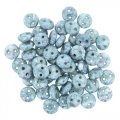 Lentil Beads 2-Hole 6mm - Chalk Lumi Blue 50pcs