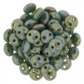 Lentil Beads 2-Hole 6mm - Picasso Turquoise Bronze 50pcs