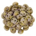 Lentil Beads 2-Hole 6mm - Luster Opaque Gold /Smoked Topaz 50pcs